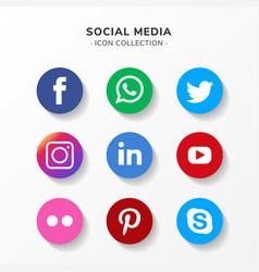 Modern social media icon set in flat design vector