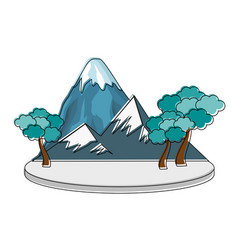 mountain with snowy and trees vector image vector image