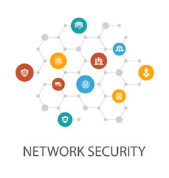 Network security presentation template cover vector