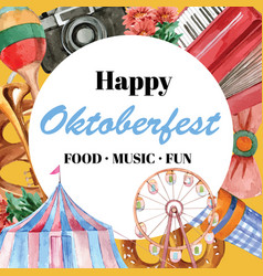 Oktoberfest frame with music fun camping tent vector