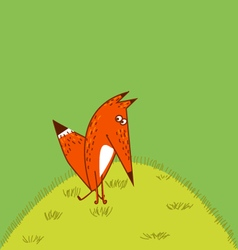 Orange Fox big tail thoughtfully amusing vector