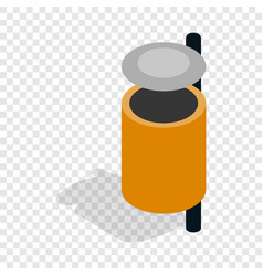 Outdoor orange bin isometric icon vector