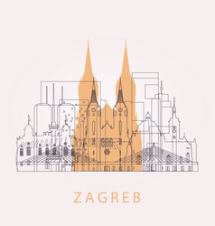 Outline zagreb skyline with landmarks vector