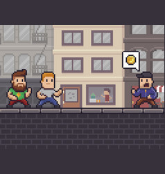 Pixel art robbery vector