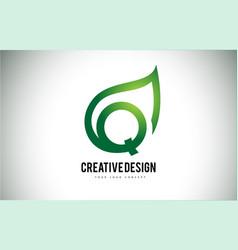 q leaf logo letter design with green leaf outline vector image