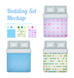 queen bedding patterns set vector image