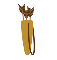 quiver of arrows isolated archer accessory on vector image