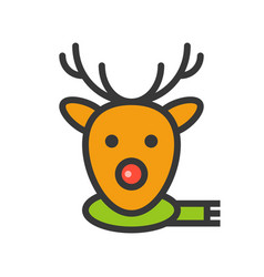 reindeer face christmas related style design vector image