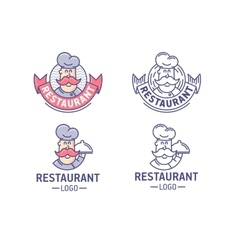 Restaurant logo set vector