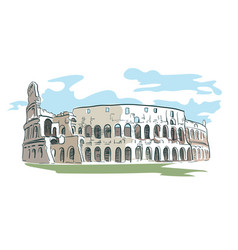 Rome coliseum watercolor line isolated vector