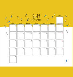 September 2019 wall calendar doodle style vector