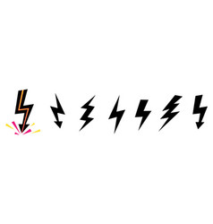set icons black lightning bolt collection vector image