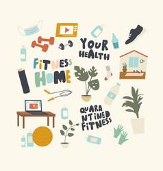 set icons fitness on quarantine theme vector image