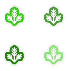 Set of paper stickers on white background fur-tree vector