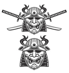 Set of the samurai mask with crossed swords vector