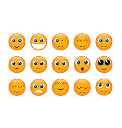 set of yellow emojis vector image