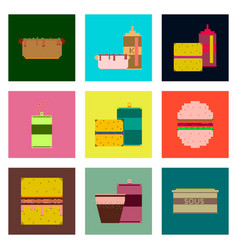 Set pixel icons fast food vector