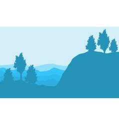 Silhouette of cliff and hill backgrounds landscape vector