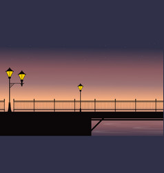 Silhouette scenery street lamp on bridge vector