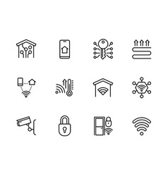 Smart home system icon simple symbols set vector