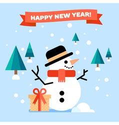 Snowman Flat Card vector