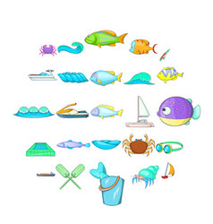 Sopping icons set cartoon style vector