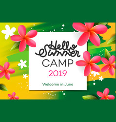 Summer camp 2019 handdrawn lettering in square vector