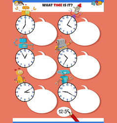 Telling time educational task with robots vector