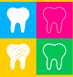 tooth sign four styles of icon on vector image