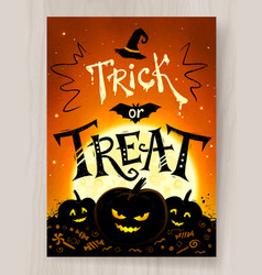 trick or treat halloween postcard design vector image