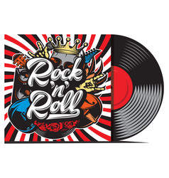 Vinyl record with cover mockup typography vector
