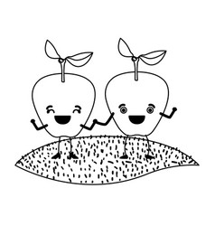 White background of monochrome pair of apple vector