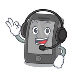 With headphone ipad in a cartoon shape vector