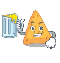 With juice nachos mascot cartoon style vector