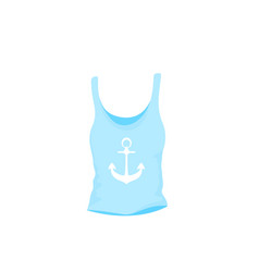 womens singlet female summer t-shirt with anchor vector image
