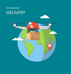 worldwide drone delivery in vector image