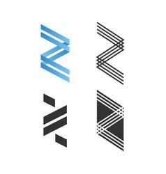 Z a letter logo set collection type za monogram vector