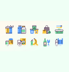 Zero waste color linear icons set vector