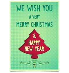 Christmas vintage poster with wishes vector image vector image