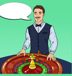 croupier behind roulette table pop art vector image vector image