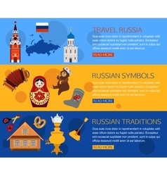 Set of Russia travel horisontal banners with place vector image vector image