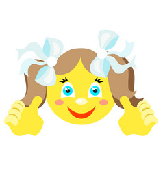 smiley girl with finger gesture with both hands vector image