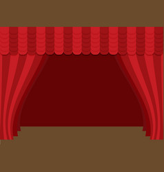 Stage curtains with brown wooden floor vector