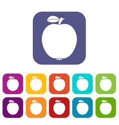 black apple icons set vector image