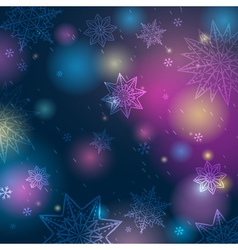Blue background with snowflakes and stars vector image
