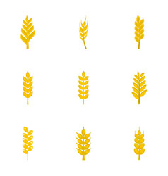 Cereal grain icon set flat style vector