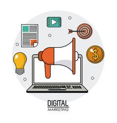 digital marketing laptop loudspeaker multimedia vector image vector image