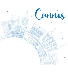 Outline Cannes Skyline with Blue Buildings vector image
