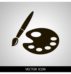 Paint brush with palette icon Flat design style vector image