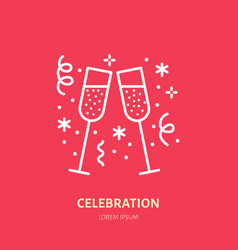 sparkling wine line icon logo for event vector image